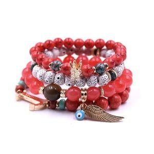 Jewelry - Red Stone Beads Bracelet with Drawstring Pouch
